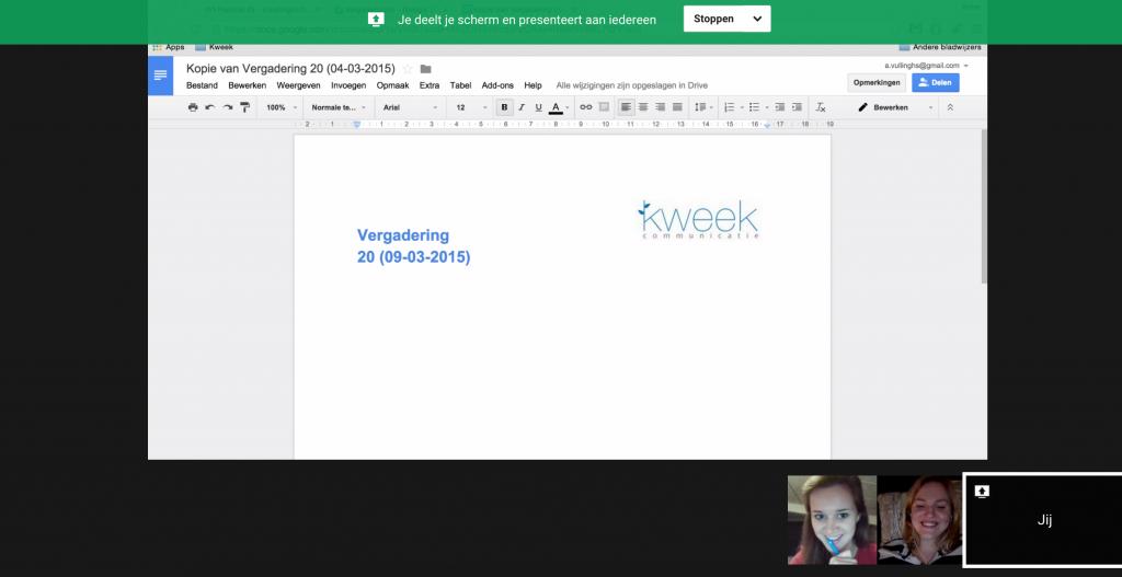Kweek Google Hangout vergadering